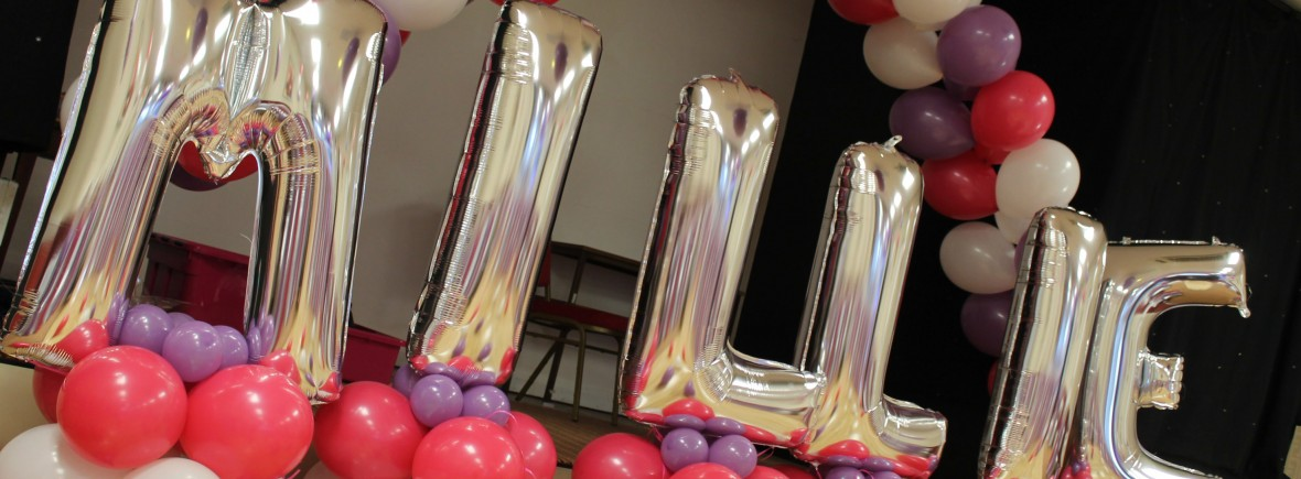 balloon arrangement and foil lettering