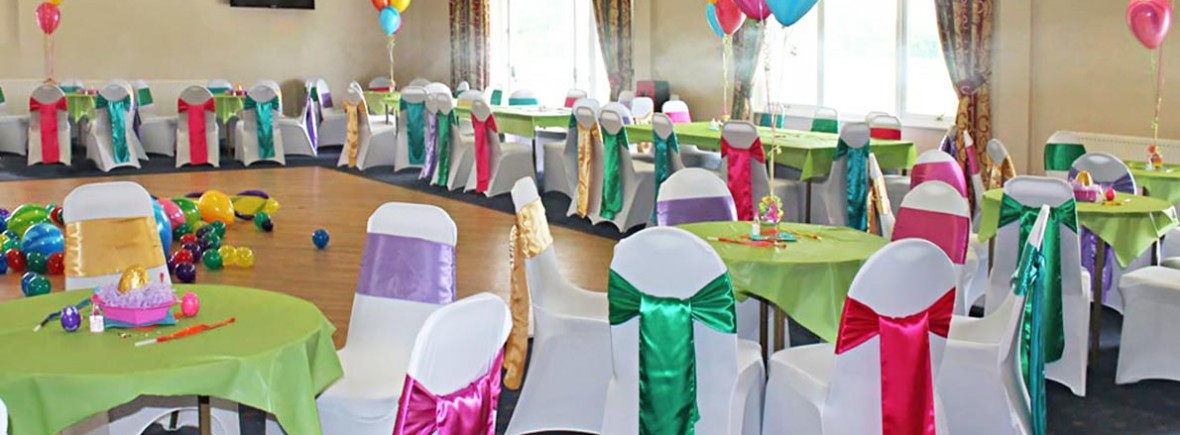 Wedding party table cluster balloons and venue dressing