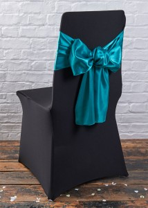 black chair covers teal sash