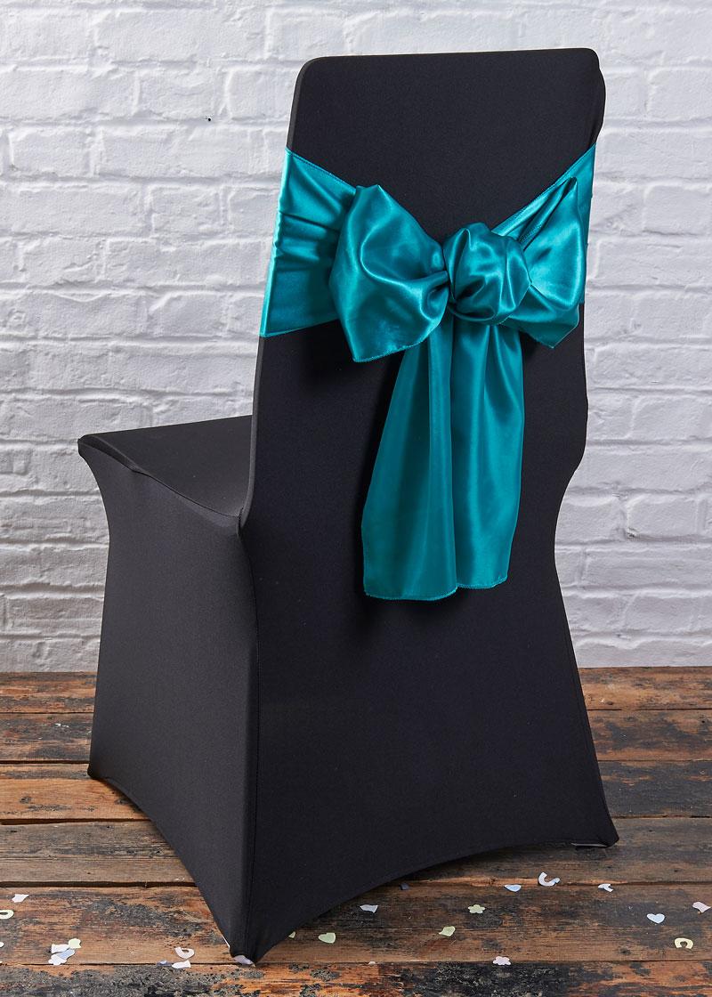 black chair covers teal sash