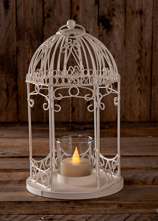 small birdcage with tea light